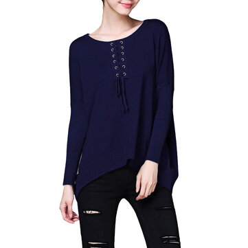 Women Knitted Loose Bandage Bat Long Sleeve Sweater