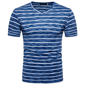 Men's Casual Stripe Colorblock V-Neck Short Sleeve T-Shirts