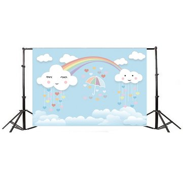 7x5ft Rainbow Smile Clouds Thin Vinyl Photography Backdrop Background Studio Photo Prop