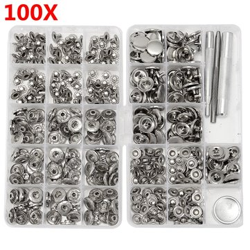 100 Sets 15mm Silver Snap Fasteners Popper Press Buttons with Installation Tool for Leather