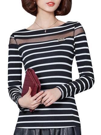 Casual Women Stripe Patchwork Gauze Long Sleeve Slim T-Shirt