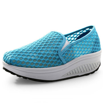 Women Slip On Mesh Rocker Sole Shoes Outdoor Sport Shoes