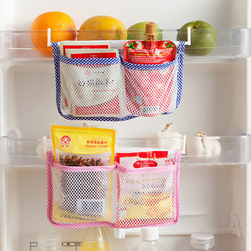 Refrigerator Mesh Storage Bag Fridge Tidy Seasoning Organizer Pouch Portable Freezer Storage