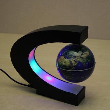 C forma de levitación magnética mapa mundo mundo flotante con LED luces