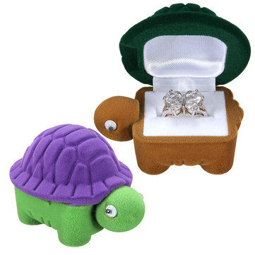 Velvet Turtle Shape Ring Jewelry Storage Case Display Box