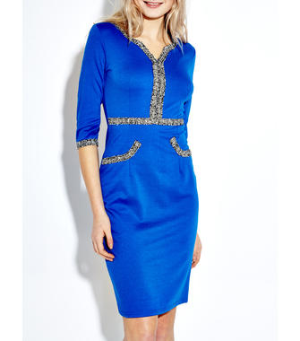Women Sequined Patchwork Half Sleeve V-Neck Pencil Dress