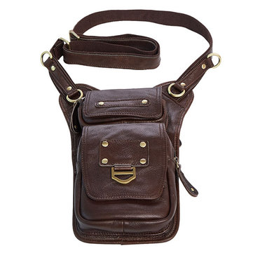 Ekphero Men Genuine Leather Vertical Shoulder Bag Vintage Leisure Business Crossbody Bag Phone Pack
