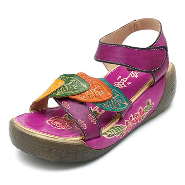 SOCOFY Hook Loop Open Toe Leather Shoe Flower Printing Retro Sandals