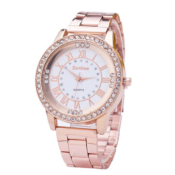 Fashionable Diamonds Ladies Wrist Watch Stainless Steel Strap Quartz Watches