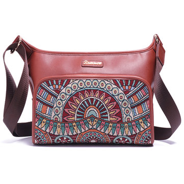Brenice Women National Floral Printing Retro Fashion Shoulder Crossbody Bag