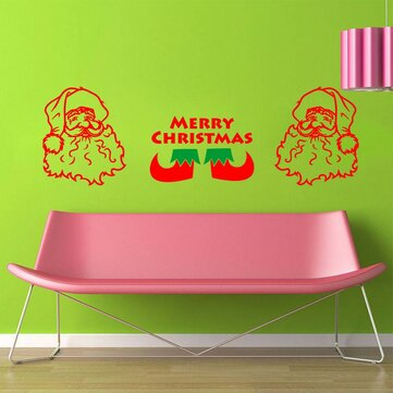 Merry Christmas Santa Claus Stocking Removable DIY Window Wall Sticker Home Party Decoration