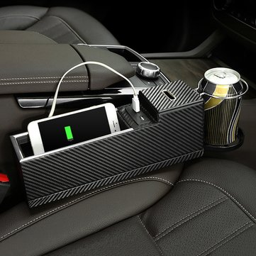 USB Charger Car Seat Crevice Storage Box Seat Gap Filler Organizer Catcher Box Cup Holder