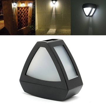 Solar Powered PIR Motion Sensor LED Triangle Wall Light Outdoor Garden Yard Lamp