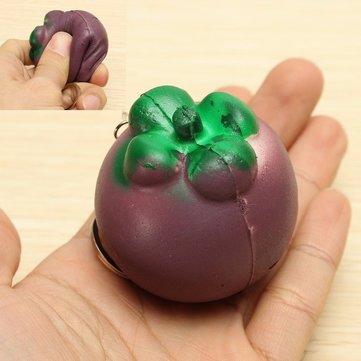 Squishy Mangosteen Tropical Fruit Squishy 5.5*5cm Key Chain Phone Bag Strap Pendant Decor Gift