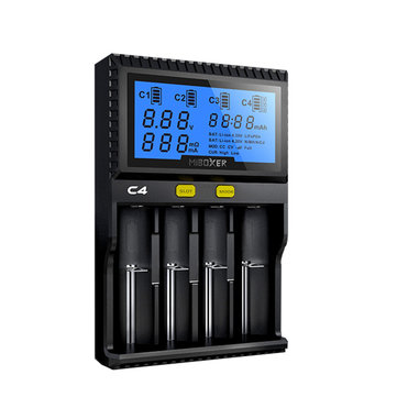 Miboxer C4 LCD Display Rapid Intelligent Li-ion/IMR/INR Battery Charger 4 Slots US Plug