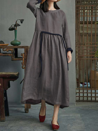 Women Vintage Cotton Long Sleeve High Waist Loose Swing Shirt Dress