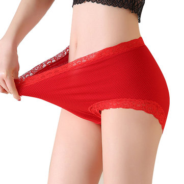 Plus Size Cotton Lace-trim High Waist Panties