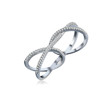 Elegant Double Ring Special Zircon Women Attach Ring