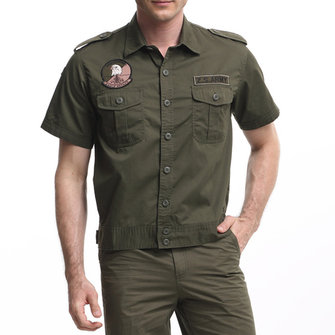 Mens Summer Washed Cotton Military Slim Fit Cargo Shirts