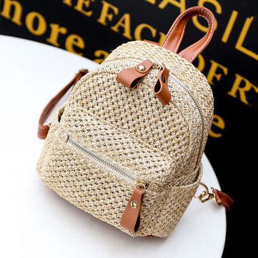 Women Straw Fashion Woven Backpack Travel bag Shoulder Bag Handbag