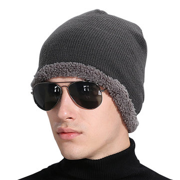 Mens Winter Plus Velvet Warm Solid Beanie Cap