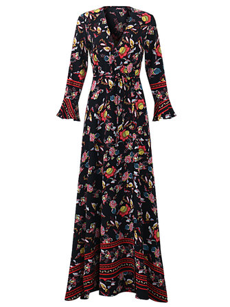 OEUVRE Bohemian Women V-Neck Floral Printed Tie-Waist Split Wrap Maxi Dress