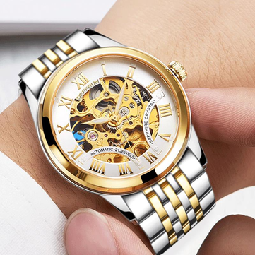 DEFFRUN DM0001 Roman Number 3D Dial Case Men Watch Stainless Steel Strap Automatic Mechanical Watch