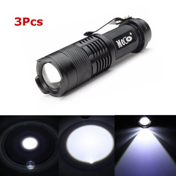 3Pcs Black Color MECO Q5 500LM Multicolor Zoomable Mini LED Flashlight 14500/AA