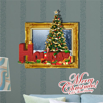 3D Christmas Tree Holiday Picture PAG STICKER Wall Decals Sticker Home Wall Decor Gift
