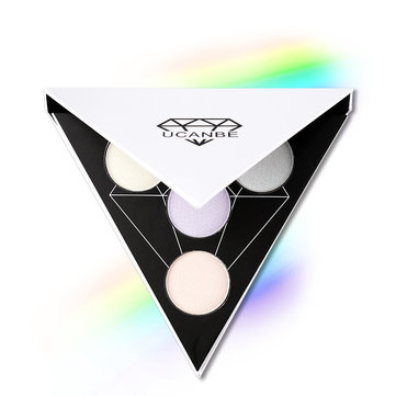 UCANBE Triangle Eyeshadow Palette Makeup Glow Highlighter Shimmer Face Brighten Eye Shadow