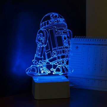 Colorful 3D Visual LED Robot Night Light Touch USB Table Lamp Decor for Kid Bedroom