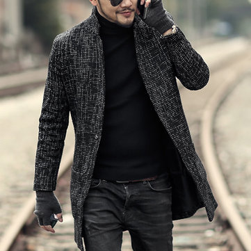 Mens Mid Long Tweed Coat Fall Winter Stylish Overcoat