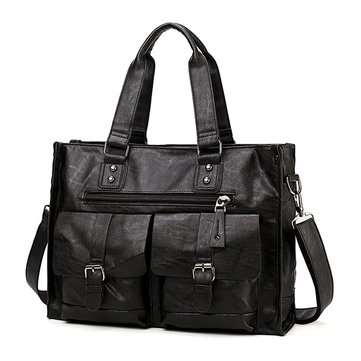 Men Solid Large-capacity Briefcase Business Bag