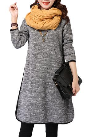 Women Cotton Linen High Collar Thicken Loose Dress
