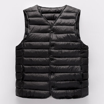 Mens Winter Thermal Thickened Warm V Collar Solid Color Insulated Padded Vest