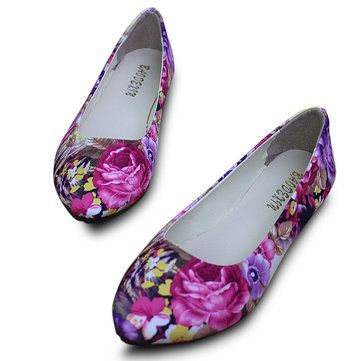 US Size 5-11 Women Flats Shoes Comfortable Casual Fashion Flower Slip On Flat Loafers Shoes