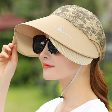 Womens Wide Birm UV Protection Sun Hat Empty Top Visor Cap