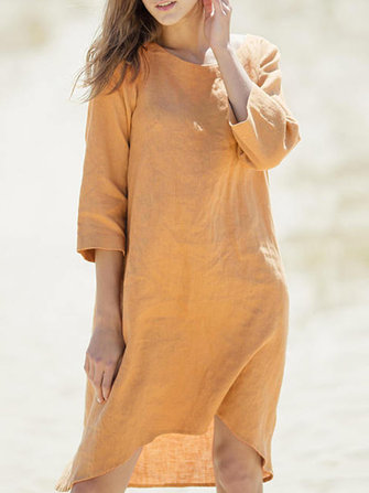 Women Half Sleeve O-neck Linen Cotton Dress