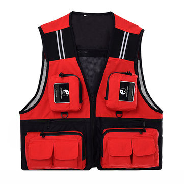 Outdooors Leisure Fishing Male Vest Quick Drying Mesh Multi Pocket Photojournalist Waistcoat