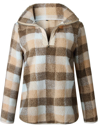 Casual Women Loose Plaid Long Sleeve Lapel Sweatshirt