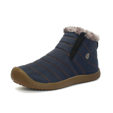 Uniex Warm Wool Lining Slip On Flat Ankle Snow Boots Shoes For Men Momen