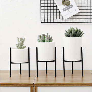 Metal Plant Stand Flower Pot Shelves Rack Holder Aron Frame Ceramic Vase