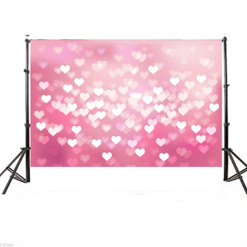 5x7ft Vinyl Pink Hearts Valentine's Day Photography Background Photo Studio Backdrop