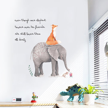 Miico Creative Colorful Cartoon Elephant Fox PVC Removable Home Room Decorative Wall Door Decor Sticker