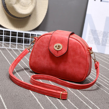 Women Matte Retro Round Bucket Bags Shoulder Bags