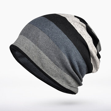 Women Mens Knitted Stripe Beanie Hat Outdoor Autumn Warm Cap Scarf Dual Use