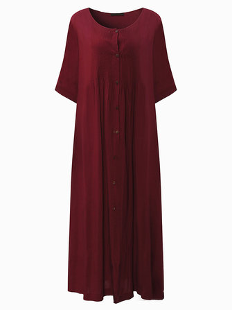 Vintage Women Loose Pleated Button Dress