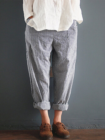 S-5XL Casual Stripe Pocket Elastic Waist Women Harem Pants