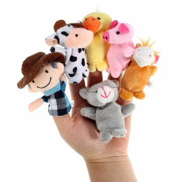 10Pcs Farm Animals Cartoon Story Telling Finger Hand Funny Puppets Kids Nursery Rhyme Doll Tale Props Plush Toy