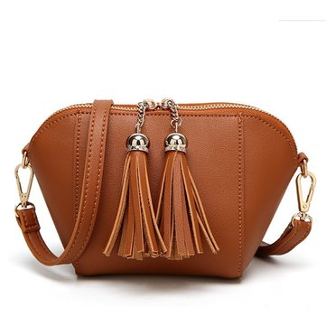 Women PU Leather Shell Tassel Handbag Shoulder Bag Crossbody Bag